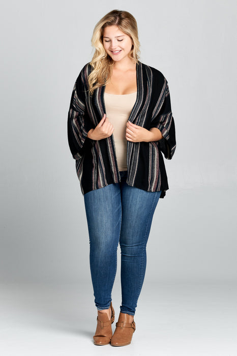 Short Length Striped Cardigan - Plus Size