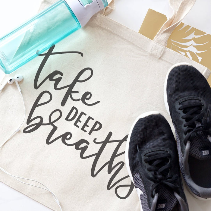 Take Deep Breaths Gym Cotton Canvas Tote Bag
