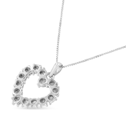 Sterling Silver 1/3 ct TDW  Diamond Heart Pendant