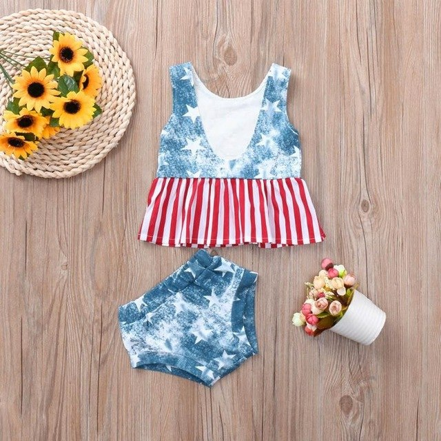Casual  Baby Girls Clothing Set 4th Of July Star