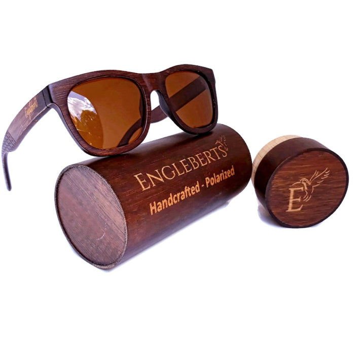 Sienna Wooden Sunglasses With Bamboo Case, Tea Colored Polarized