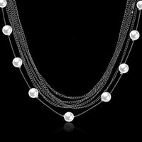 % Row Stands Statement Necklace in 18K White Gold Plated with-thumbnail