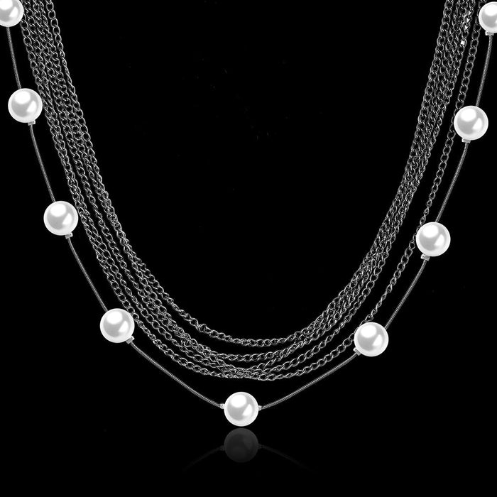 % Row Stands Statement Necklace in 18K White Gold Plated with