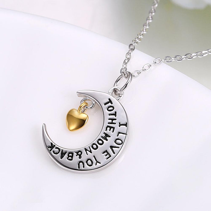 Love you to the Moon and Back Sterling Silver Necklace