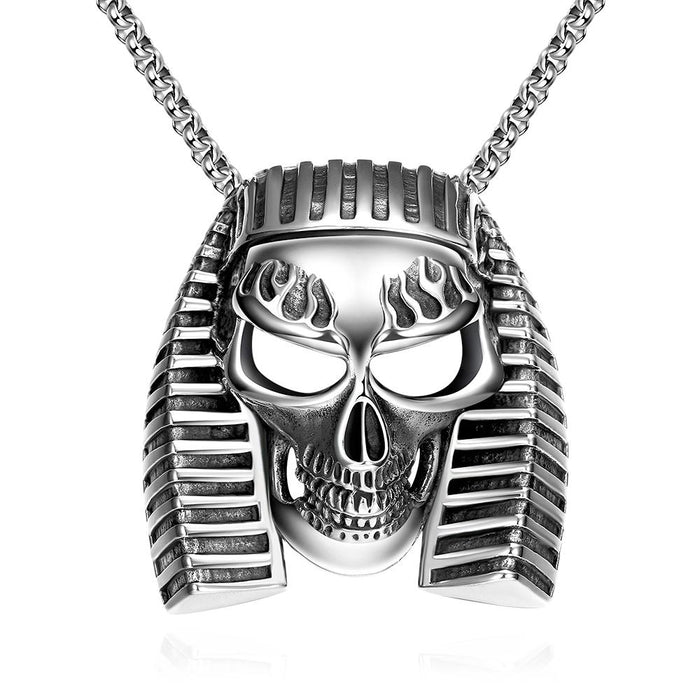 Egyptian Skull Necklace in Stainless Steel