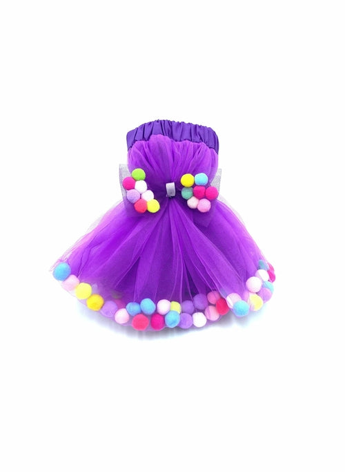 Kids Tutu Skirt With Multicolor Pom Pom Balls and Bow Hair Tie - 2Pcs