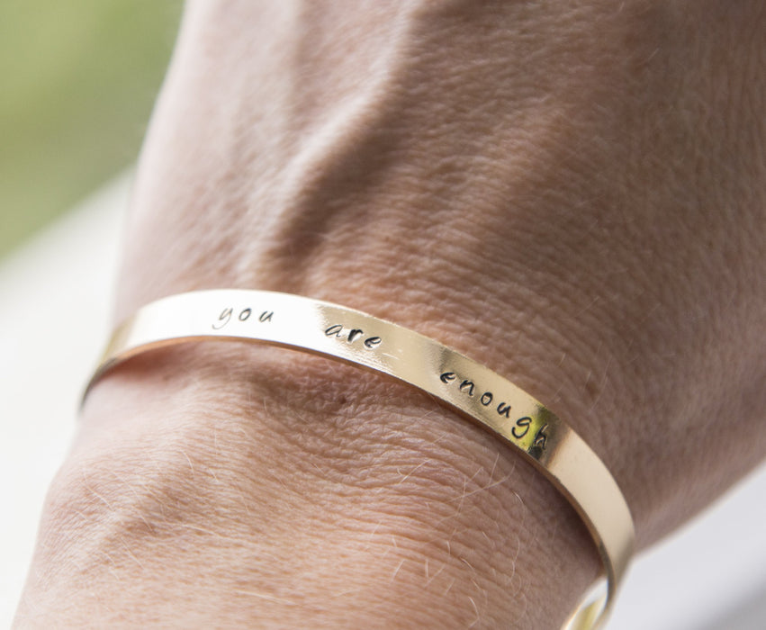 Personalized stamped cuff bracelet, hand stamped message quote