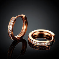 """0.66"""" Huggie Earring in 18K Rose Gold Plated with Swarovski Crystals-thumbnail"""