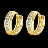"0.59"" Thick Cut Huggie Earring in 18K Gold Plated with Swarovski-thumbnail"