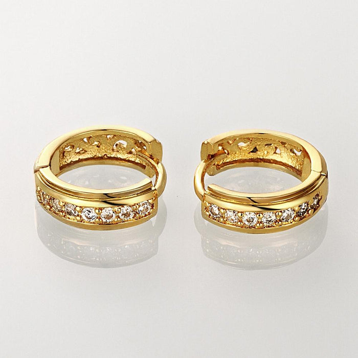 "0.59"" Thick Cut Huggie Earring in 18K Gold Plated with Swarovski"