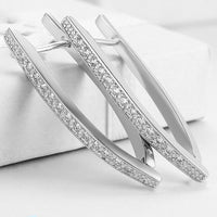 """1.4"""" Pave Thin Pave Hoop Earring in 18K White Gold Plated with-thumbnail"""