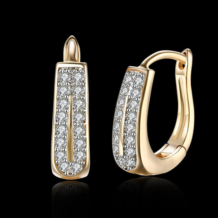 "0.60"" Double Row Huggie Earring in 18K Gold Plated"