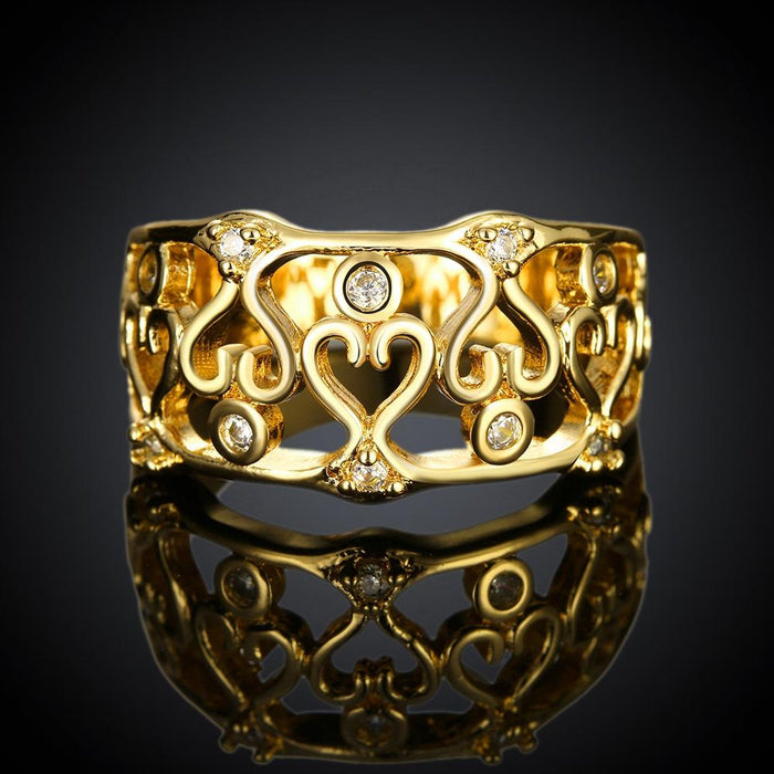 18K Gold Plated Martina Twisted Hearts Ring made with Swarovski