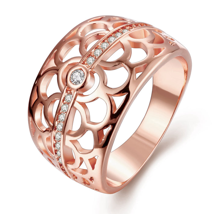 18K Rose Gold Plated Micheline Botanical Flower Ring made with