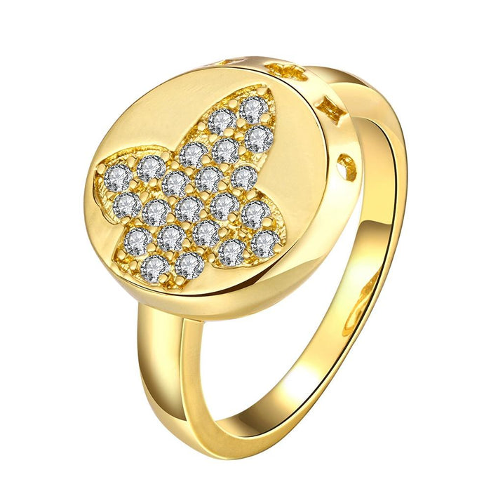 18K Gold Plated Pave Butterfly Ring made with Swarovski Crystals