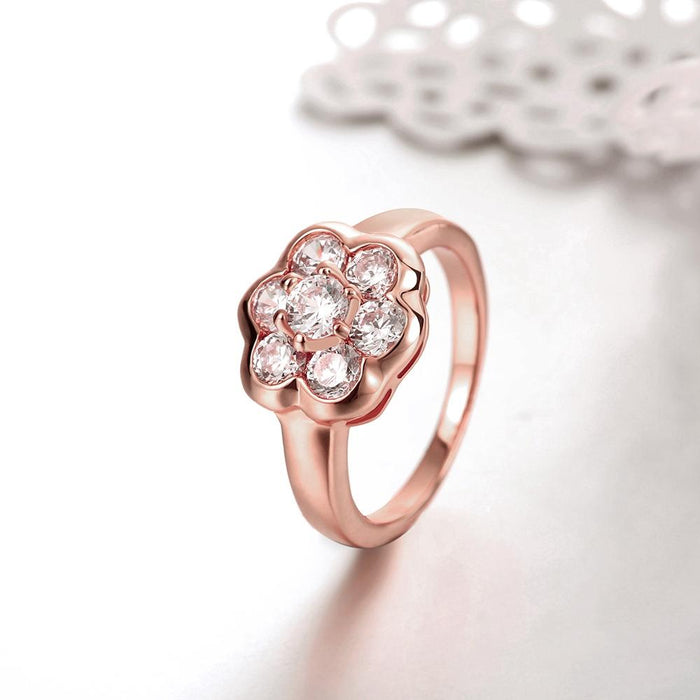 18K Rose Gold Plated Lynnette Pave Flower Ring made with Swarovski