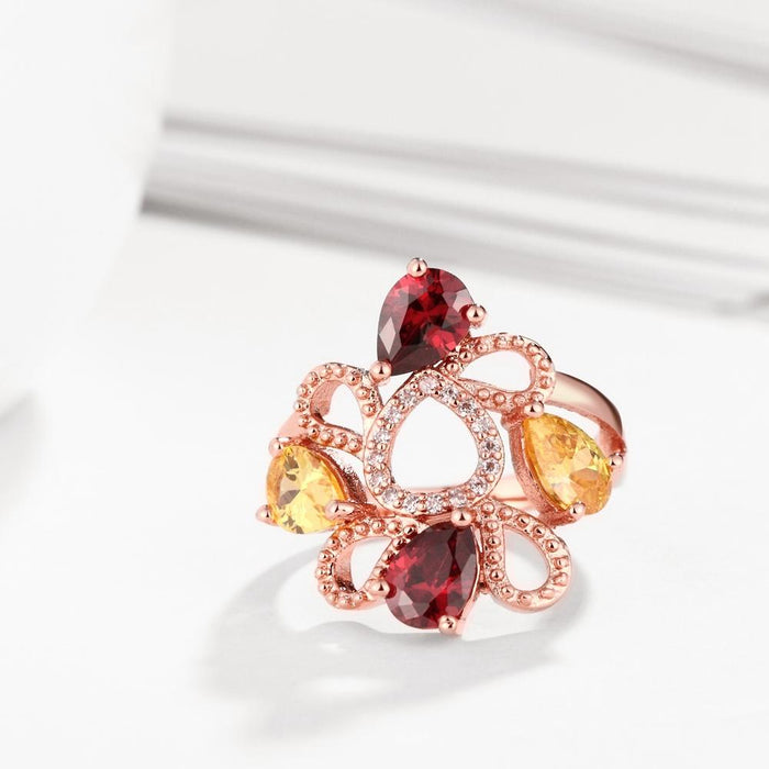 18K Rose Gold Plated Lena Flower Ring made with Swarovski Crystals