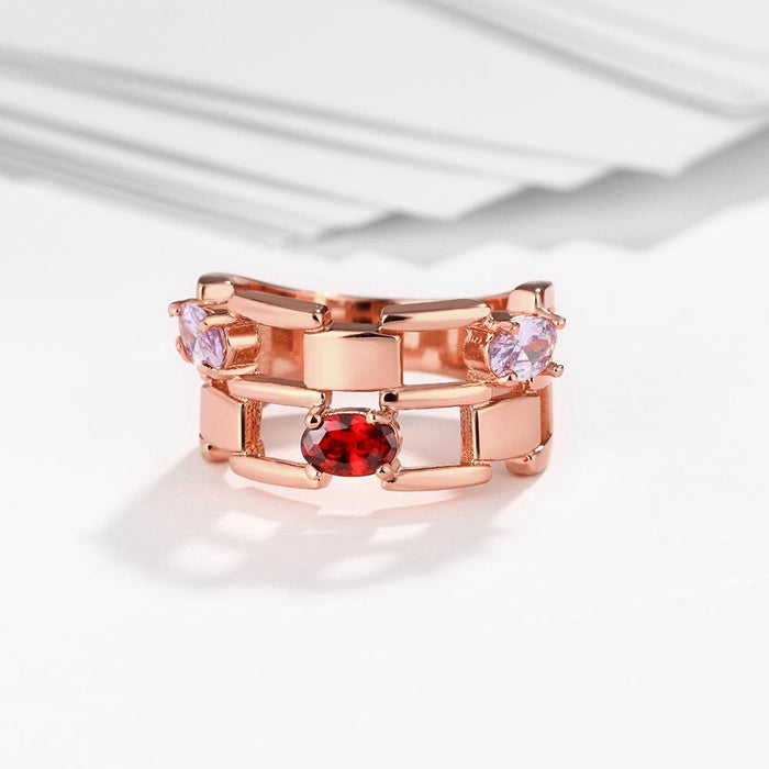 18K Rose Gold Plated Martine Cocktail Ring made with Swarovski