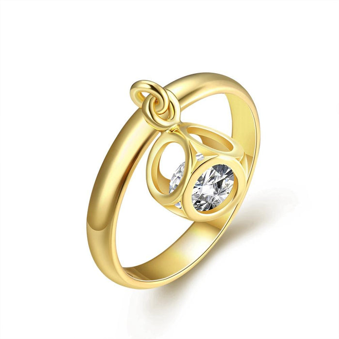 18K Gold Plated Patricia Charm Ring made with Swarovski Crystals