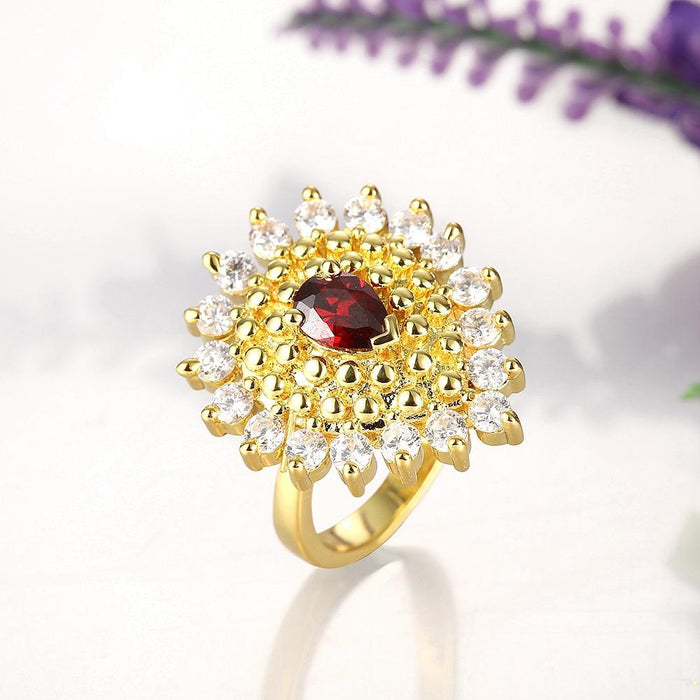 18K Gold Plated Paulette Cocktail Ring made with Swarovski Crystals