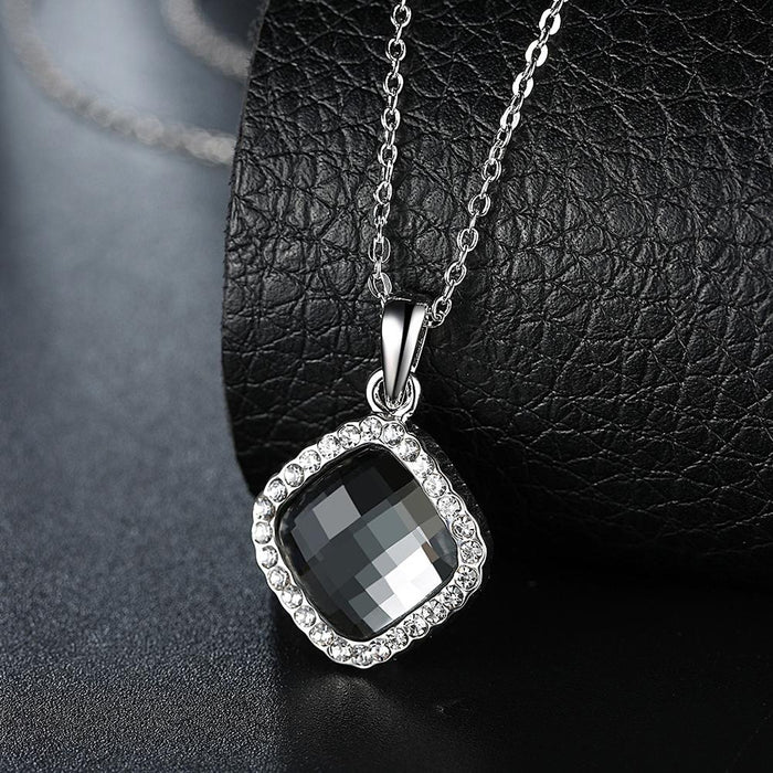 Crystal Necklace in 18K White Gold Plated with Swarovski Crystals
