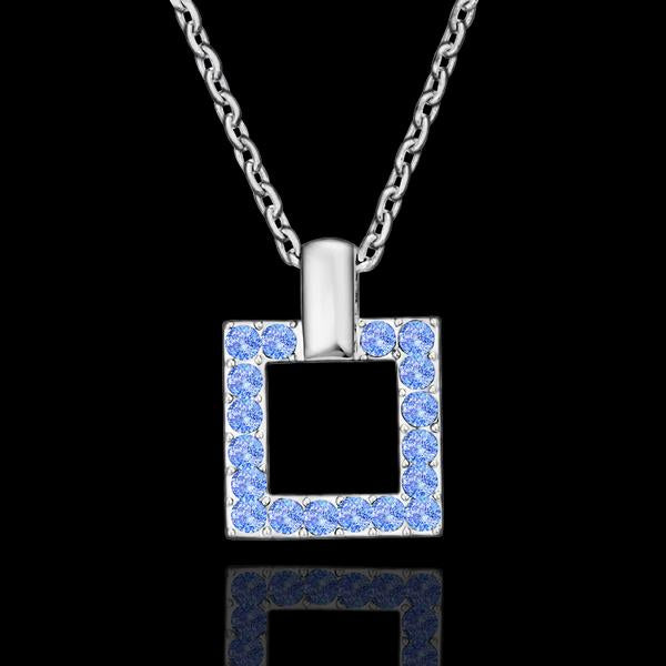 Blue Sqaure Necklace in 18K White Gold Plated with Swarovski Crystals