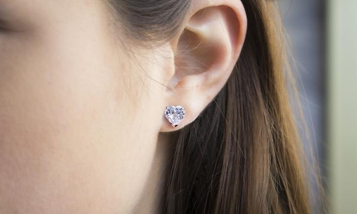 1.00 CT Heart Stud Earring in 18K White Gold Plated