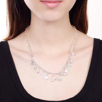 13 Piece Charms Necklace in 18K White Gold Plated with Swarovski-thumbnail