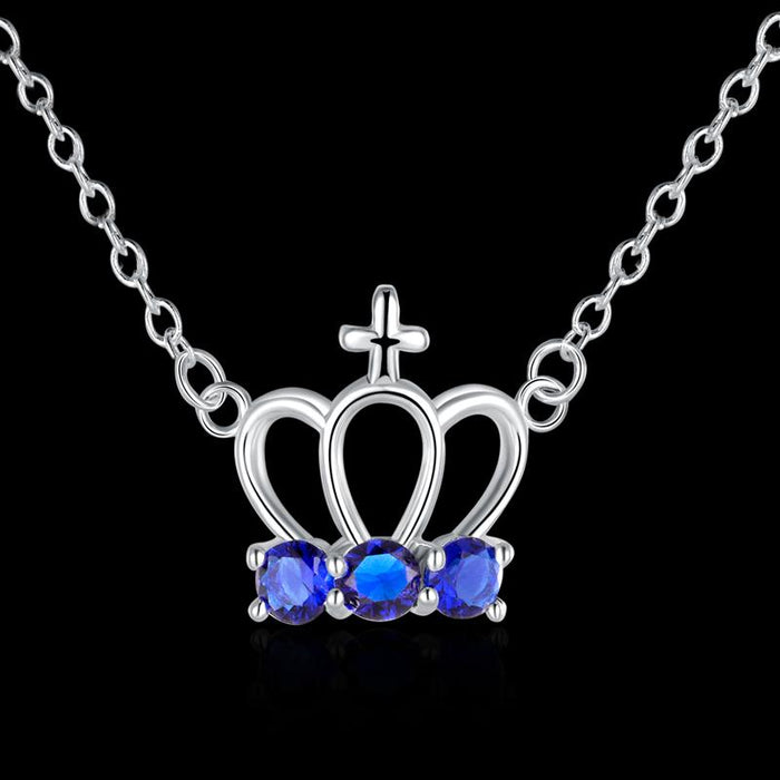 Sapphire Cross Crown Necklace in 18K White Gold Plated with Swarovski