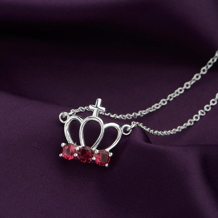 Ruby  Cross Crown Necklace in 18K White Gold Plated with Swarovski