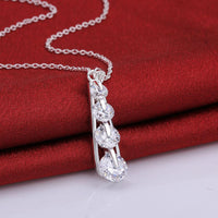 10.00 Ct Drop Necklace in 18K White Gold Plated with Swarovski-thumbnail
