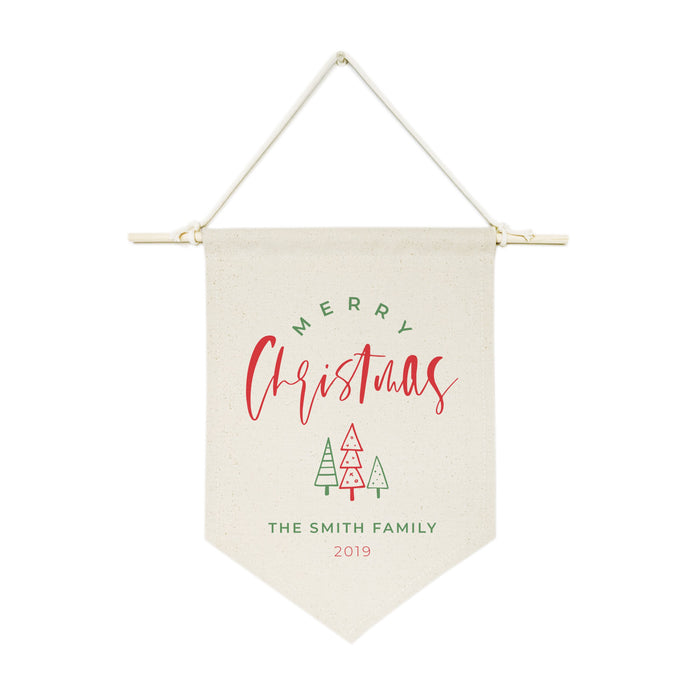 Personalized Family Last Name Merry Christmas with Year Hanging Wall