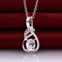 Arras Necklace in 18K White Gold Plated made with Swarovski Crystals-thumbnail