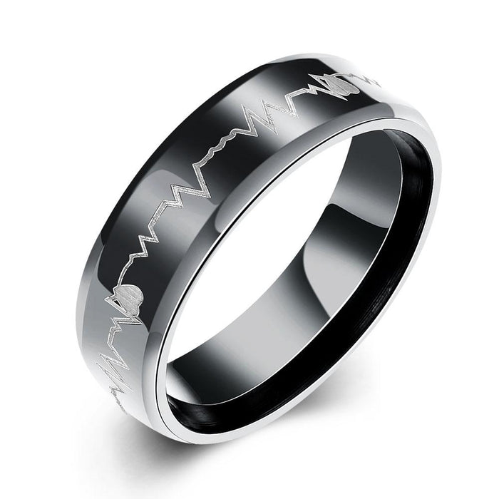 316L Stainless Steel Heart Pulse Black Plating Band Ring
