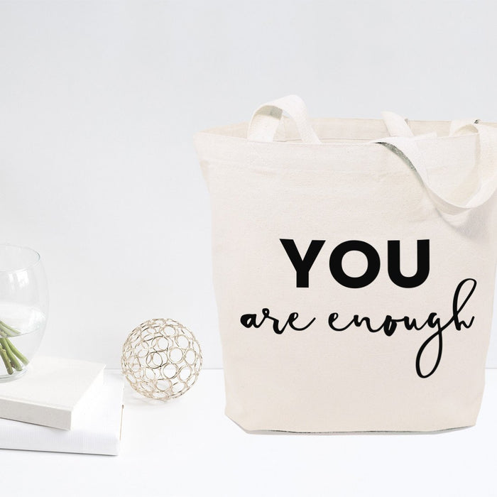 You Are Enough Cotton Canvas Tote Bag