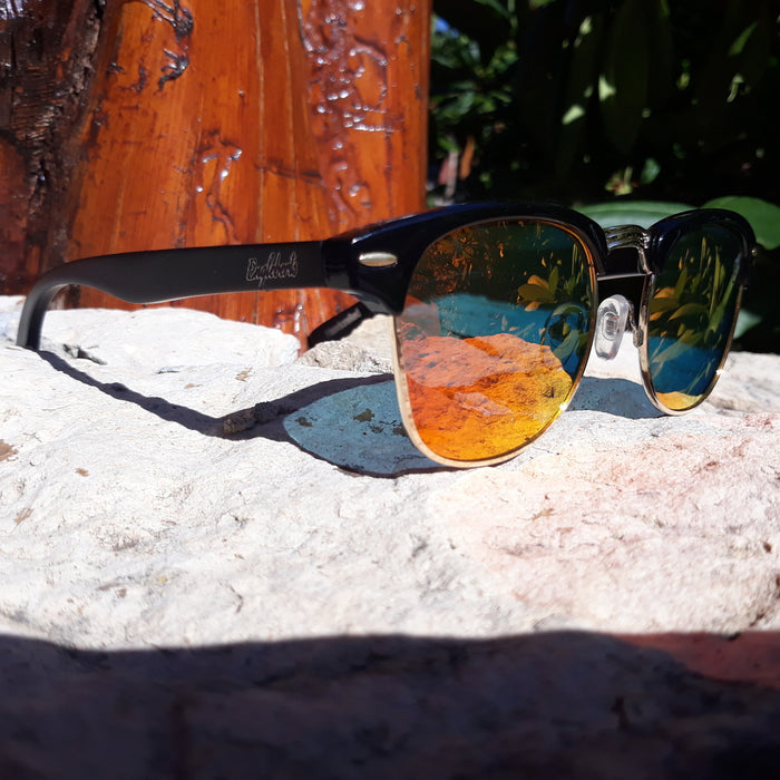 Black Bamboo Club Sunglasses, Polarized Sunset Lenses, HandCrafted