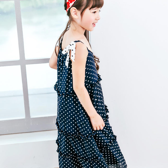 (Girl) Navy polka-dot tiered dress