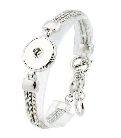 Snap Jewelry - Silver Plated One Snap Adjustable Bracelet -
