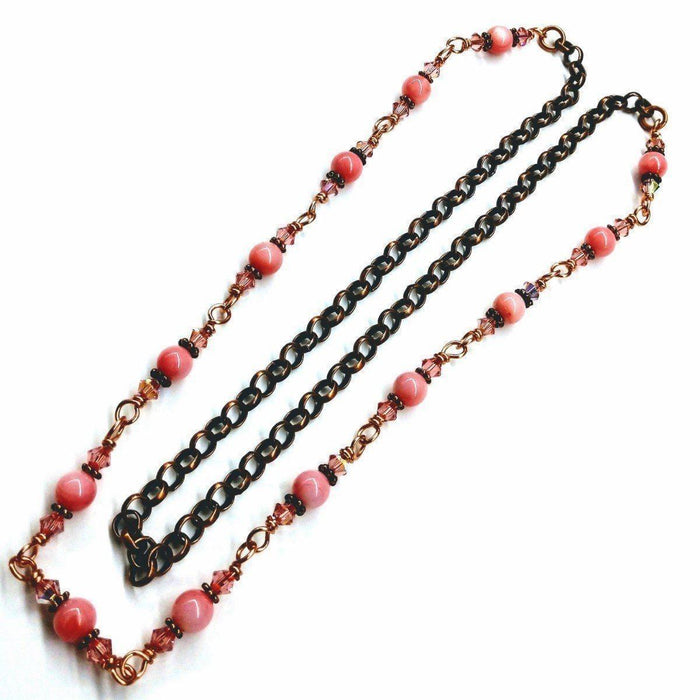 24-Inch Copper Peach Pearl Crystal Wire Wrapped Necklace