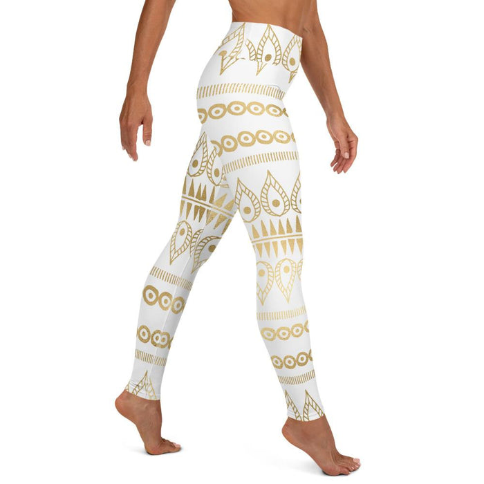 Bohemian Gold White High Waist Yoga Leggings