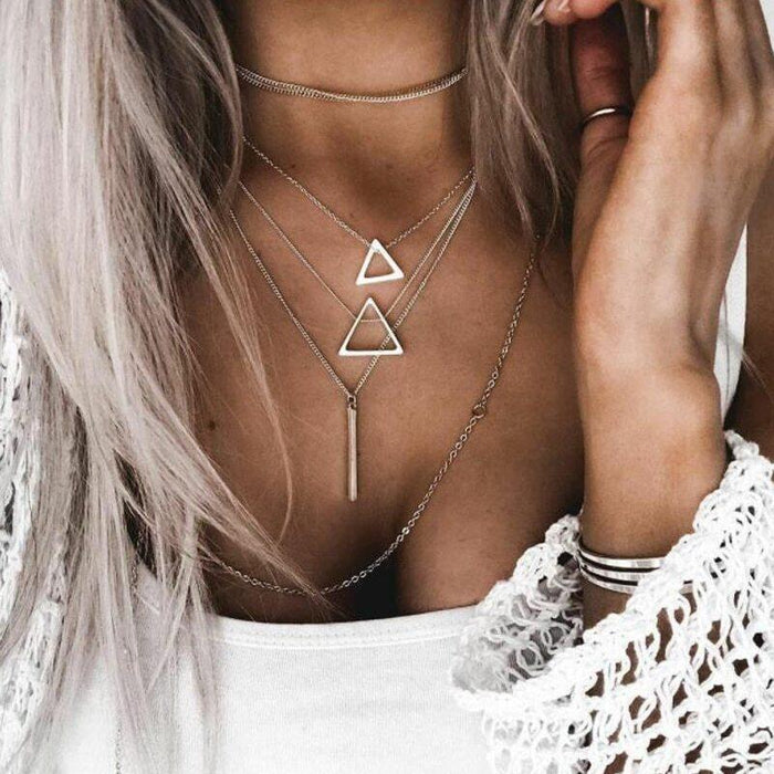 Double Triangle Multilayer Necklace