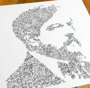 Claude Debussy portrait with fun facts biography doodles.