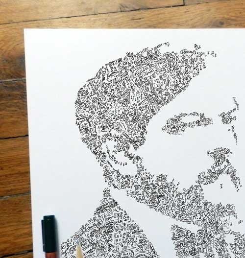 claude debussy art print with doodles