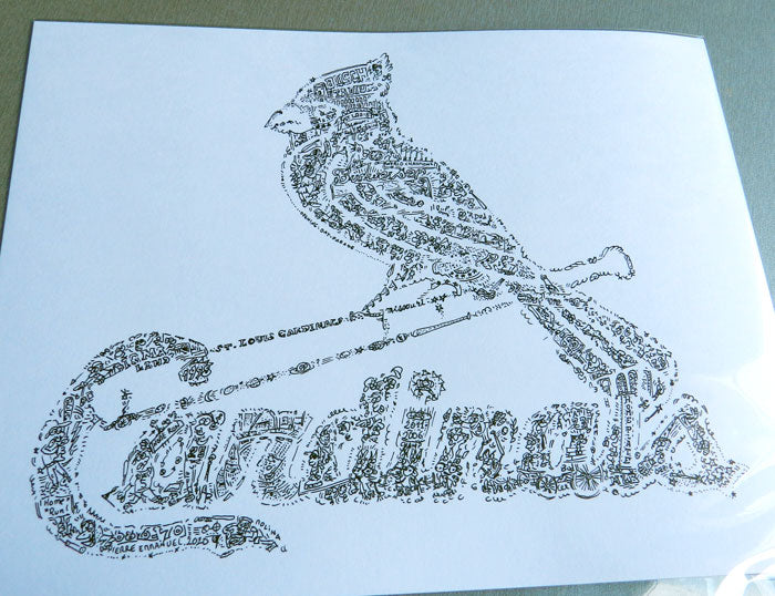 Cardinals saint louis art drawing in black and white