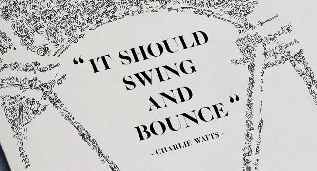 charlie watts quote print drawing it should swing and bounce
