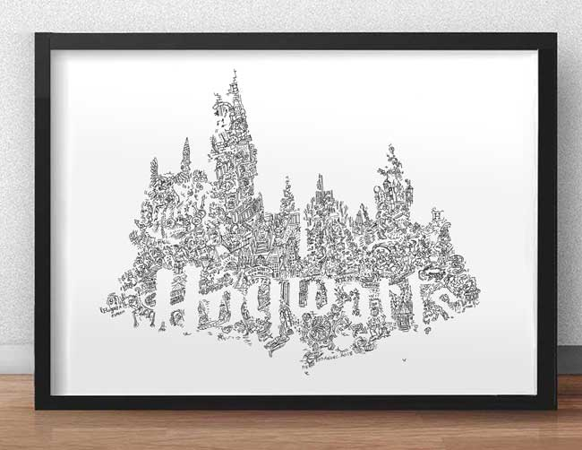 hogwarts castle drawing illustration gift idea