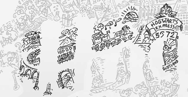 hogwarts express train 5972 doodle drawing illustration