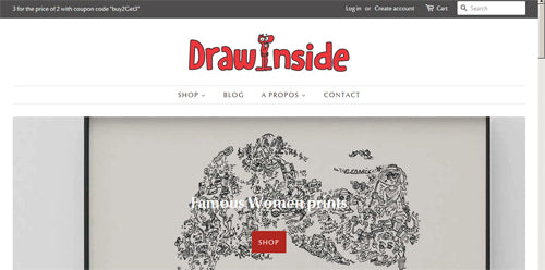 main page is really cool on shopify shop drawinside.com