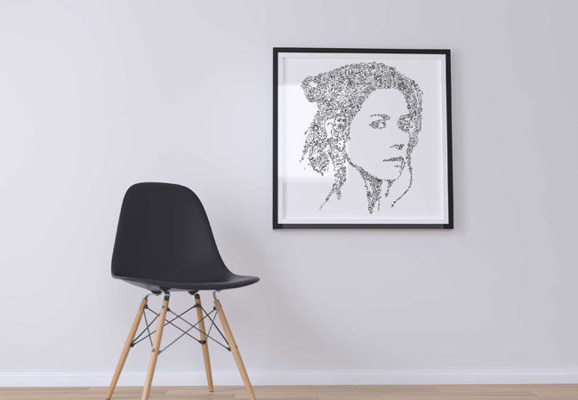 marina-and-the-diamonds-art illustration on the wall ink drawing
