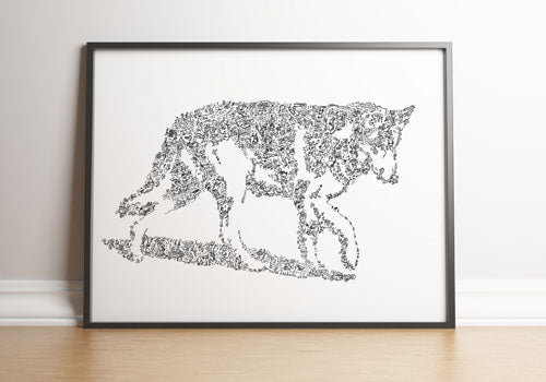 naid dog art print unique gift drawing